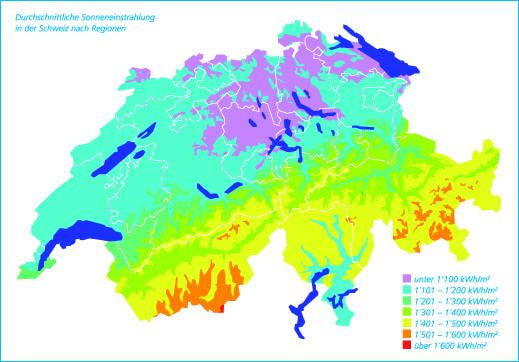 Schweiz Sonneneinstrahlung
