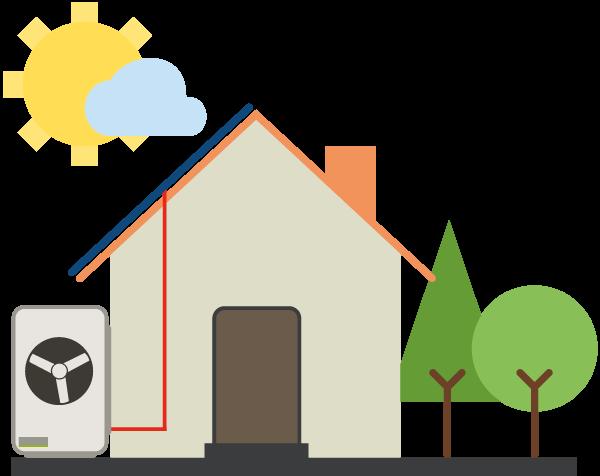 Haus Photovoltaik und Wärmepumpe