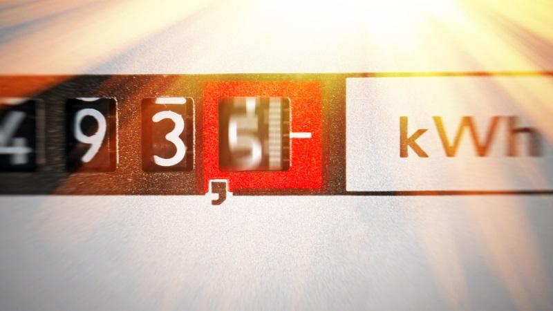 Detailaufnahme des Zählerstandes eines Stromzähler in kWh
