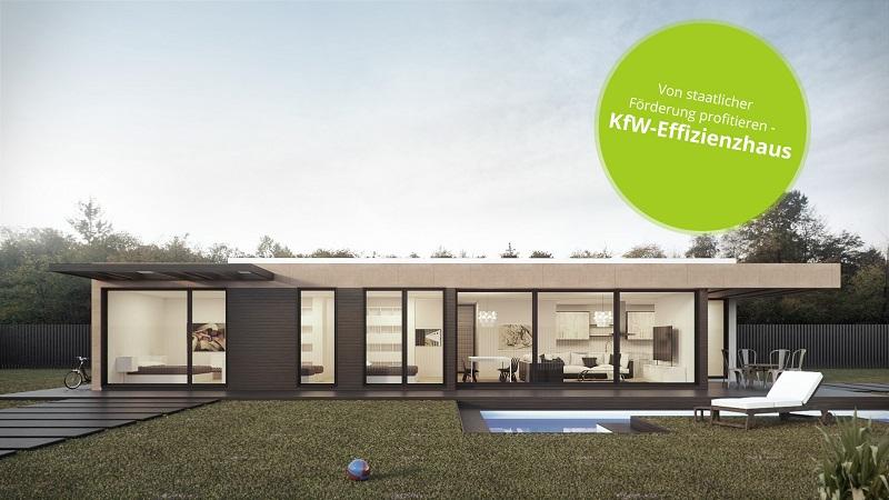 Modernes, einstöckiges KfW Effizienzhaus im BUngalow-Stil mit Wiese und Pool vor dem Haus und Störer oben rechts