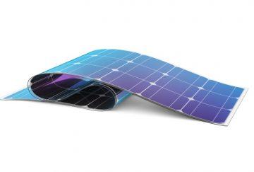 Flexible solar battery on white background. 3D illustration.